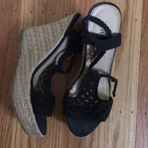 Black knit wedges with woven 4 inch heel